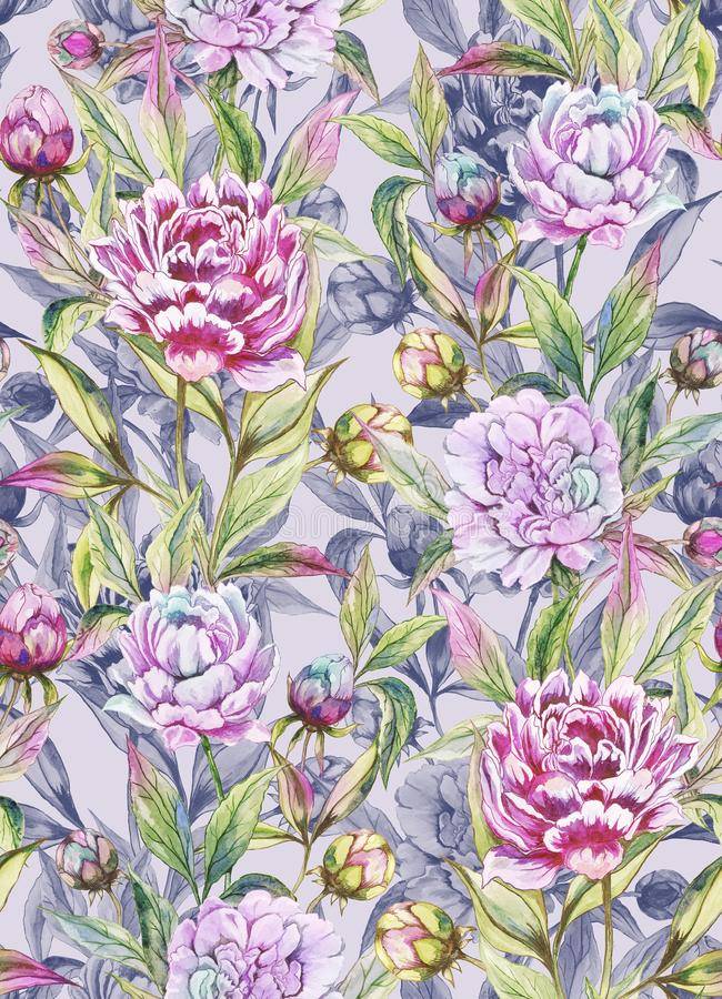Beautiful peony flowers with buds and leaves in straight lines on light gray background. Seamless floral pattern. Watercolor painting. Hand painted vector illustration