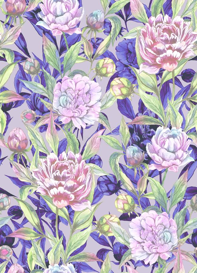 Beautiful peony flowers with buds and leaves in straight lines with purple outlines on light background. Seamless floral pattern. Watercolor painting. Hand royalty free illustration