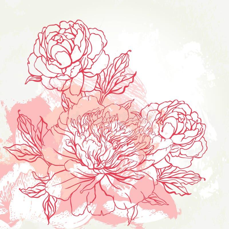 Beautiful peony greeting card design stock illustration