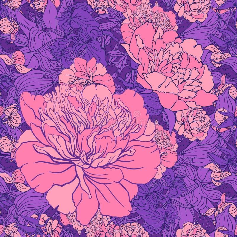 Beautiful peony seamless pattern design. illustration. stock illustration
