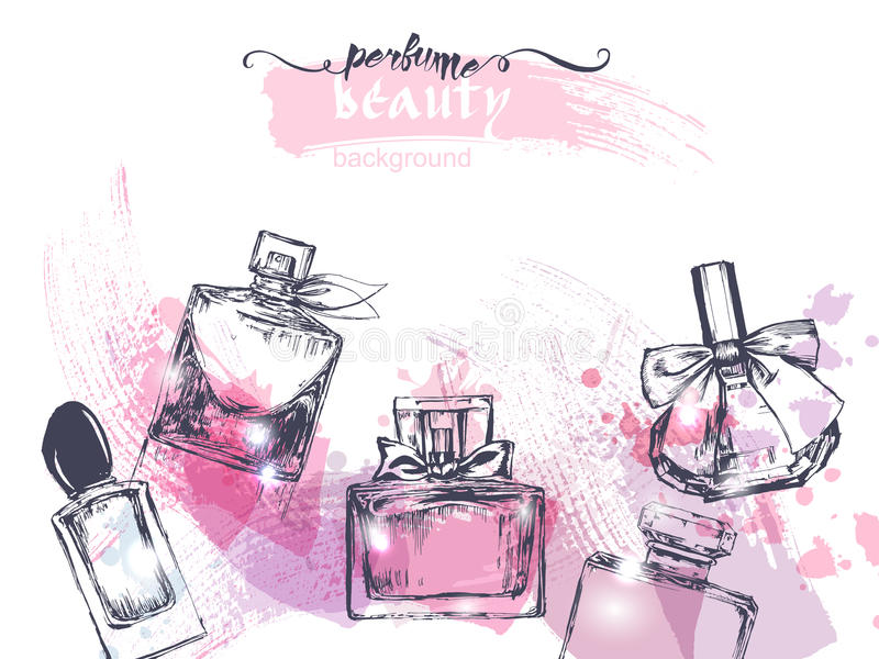 Beautiful perfume bottle, on watercolor background. Beautiful and fashion background. Vector royalty free illustration