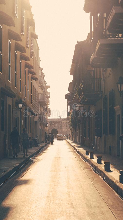 A beautiful perspective from the Cartagena`s street royalty free stock photography