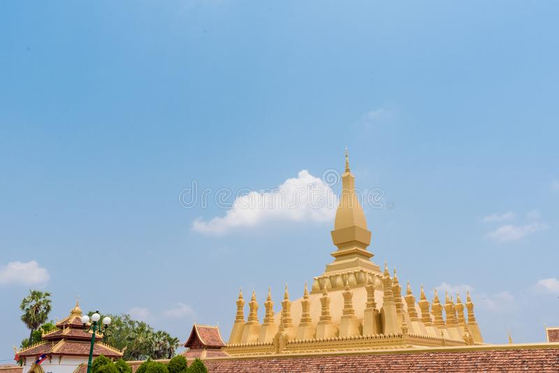 Beautiful Pha That Luang Temple in Vientiane, Laos royalty free stock image