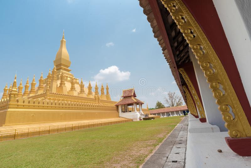 Beautiful Pha That Luang Temple in Vientiane, Laos stock photo