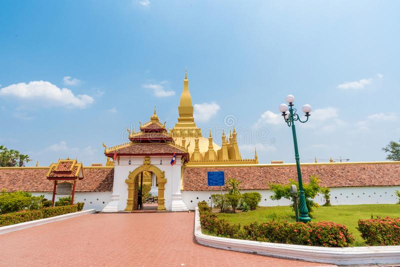 Beautiful Pha That Luang Temple in Vientiane, Laos royalty free stock photos
