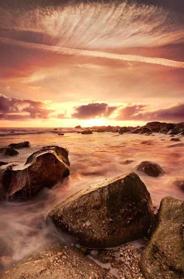 Dramatic beach scene royalty free stock image