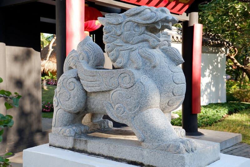 Beautiful Large Stone Guardian Lion Statue stock images