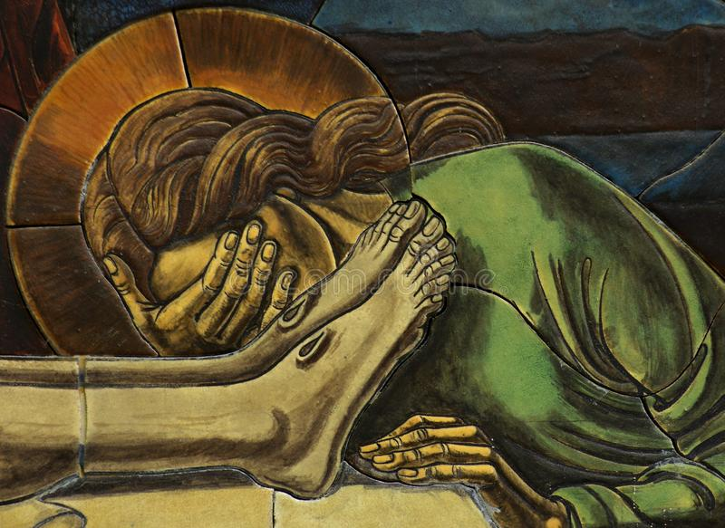Mary Magdalene grieving over the dead Jesus mosaic. A beautiful photo Mary Magdalene grieving over the dead Jesus mosaic stock photos