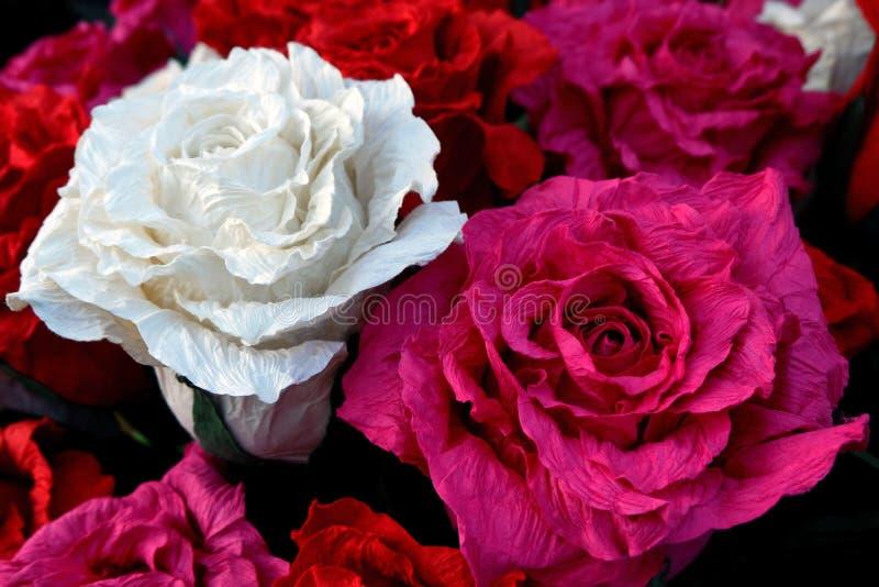 Beautiful Handmade Paper Roses at the City Fair stock photo