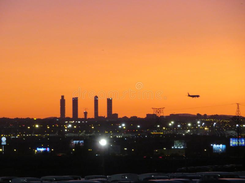 Beautiful photo of a plane landing at the airport in Madrid Spain. Madrid stock photography