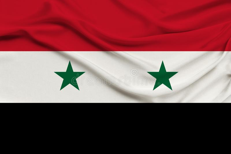 Beautiful photograph of the national flag of Syria on delicate shiny silk with soft draperies, the concept of state power, country. Life, horizontal, close-up stock images