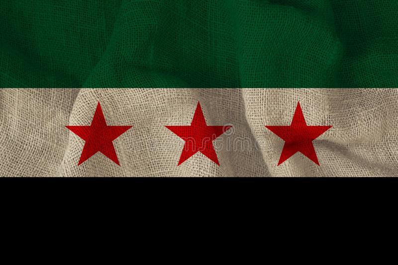Beautiful photograph of the national flag of the Syrian opposition on delicate shiny silk with soft draperies, the concept of. State power, country life stock photography