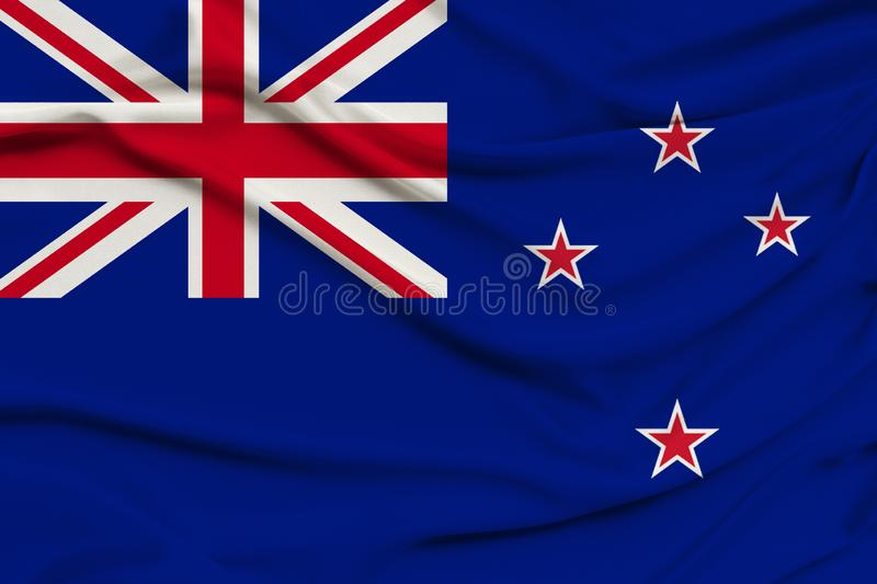 Beautiful photograph of the New Zealand national flag on delicate shiny silk with soft draperies, the concept of state power,. Country life, horizontal, close stock images