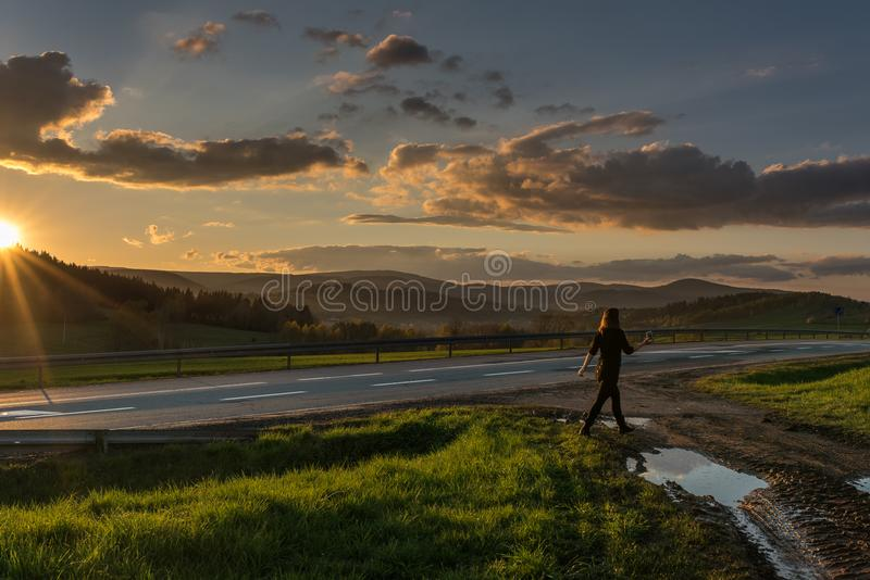 Beautiful photography of sunset in Poland stock images