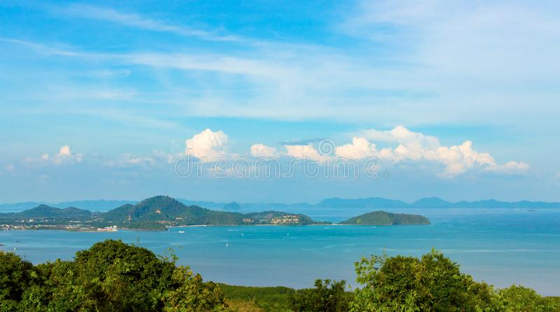Beautiful Phuket view from Khao-Khad Views Tower, enjoy the 360-degree view such as Chalong bay, Panwa cape, Sire island, Bon isl. And, tiny and large islands stock photos