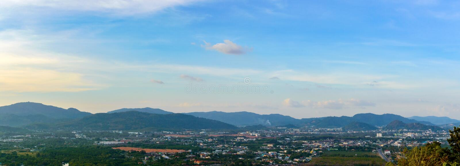 Beautiful Phuket view from Khao-Khad Views Tower, enjoy the 360-degree view such as Chalong bay, Panwa cape, Sire island, Bon isl. And, tiny and large islands royalty free stock image