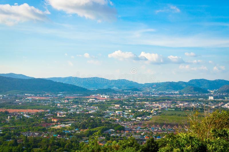 Beautiful Phuket view from Khao-Khad Views Tower, enjoy the 360-degree view such as Chalong bay, Panwa cape, Sire island, Bon isl. And, tiny and large islands stock photography