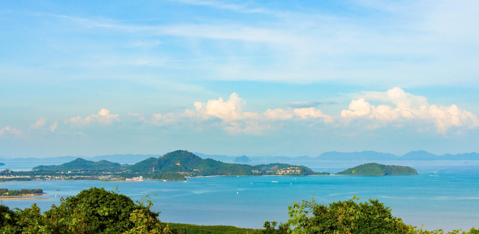 Beautiful Phuket view from Khao-Khad Views Tower, enjoy the 360-degree view such as Chalong bay, Panwa cape, Sire island, Bon isla. Nd, tiny and large islands royalty free stock photos