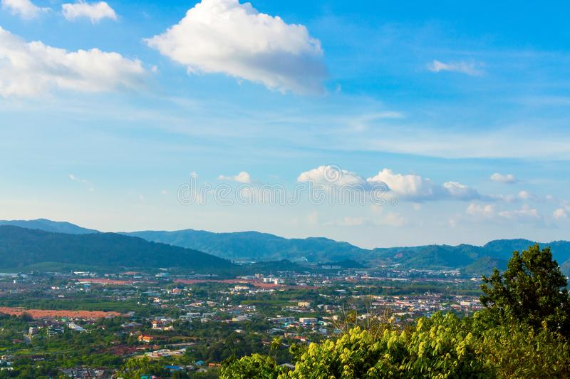 Beautiful Phuket view from Khao-Khad Views Tower, enjoy the 360-degree view such as Chalong bay, Panwa cape, Sire island, Bon isla. Nd, tiny and large islands stock image
