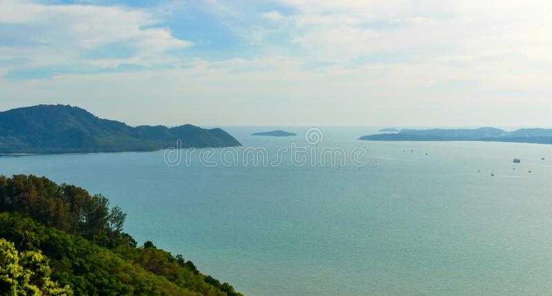 Beautiful Phuket view from Khao-Khad Views Tower, enjoy the 360-degree view such as Chalong bay, Panwa cape, Sire island, Bon isl. And, tiny and large islands royalty free stock images