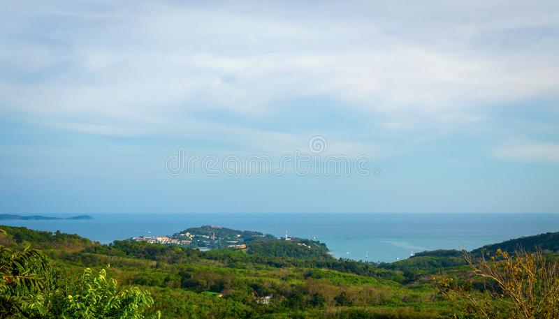 Beautiful Phuket view from Khao-Khad Views Tower, enjoy the 360-degree view such as Chalong bay, Panwa cape, Sire island, Bon isl. And, tiny and large islands stock images