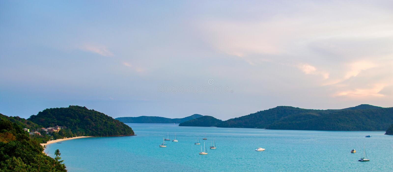 Beautiful Phuket view from Khao-Khad Views Tower, enjoy the 360-degree view such as Chalong bay, Panwa cape, Sire island, Bon isl. And, tiny and large islands royalty free stock photos