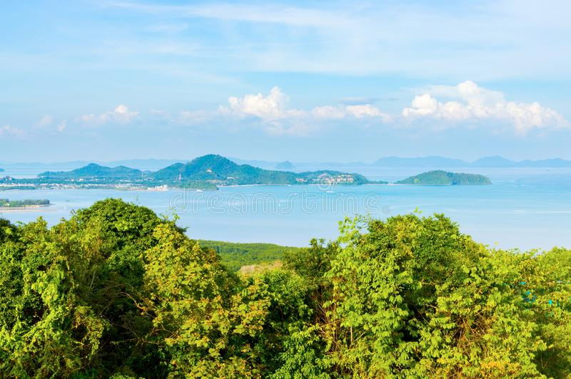 Beautiful Phuket view from Khao-Khad Views Tower, enjoy the 360-degree view such as Chalong bay, Panwa cape, Sire island, Bon isla. Nd, tiny and large islands stock images