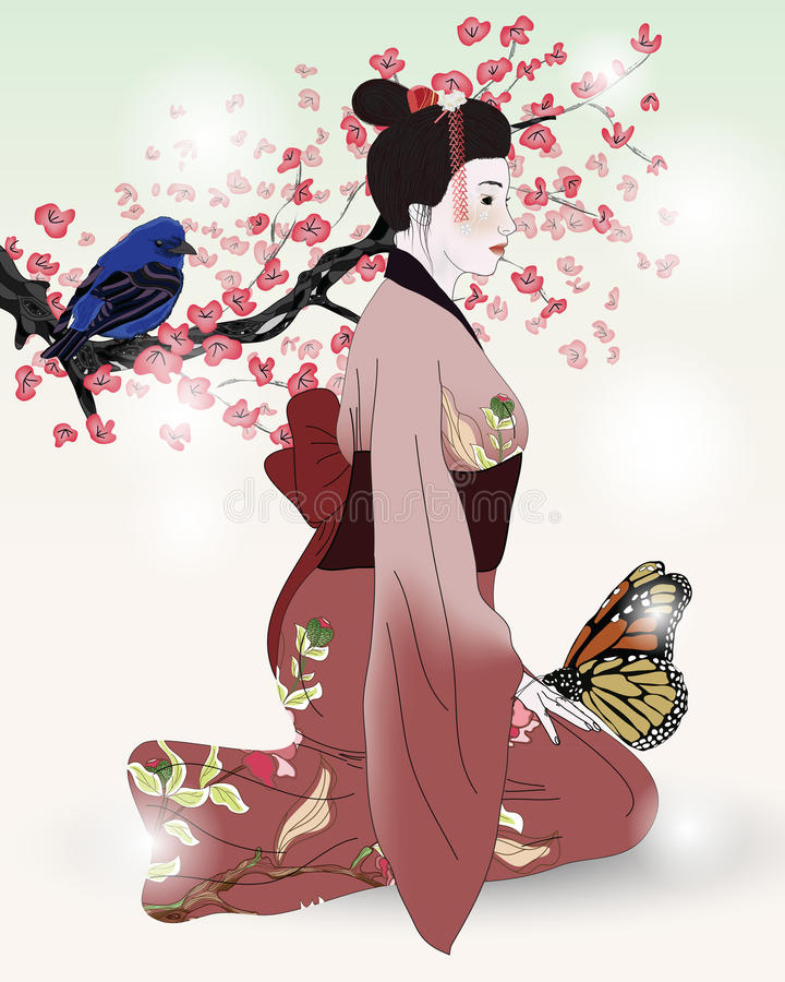 Beautiful Picture Of A Geisha In A Blooming Garden Royalty Free Stock Image