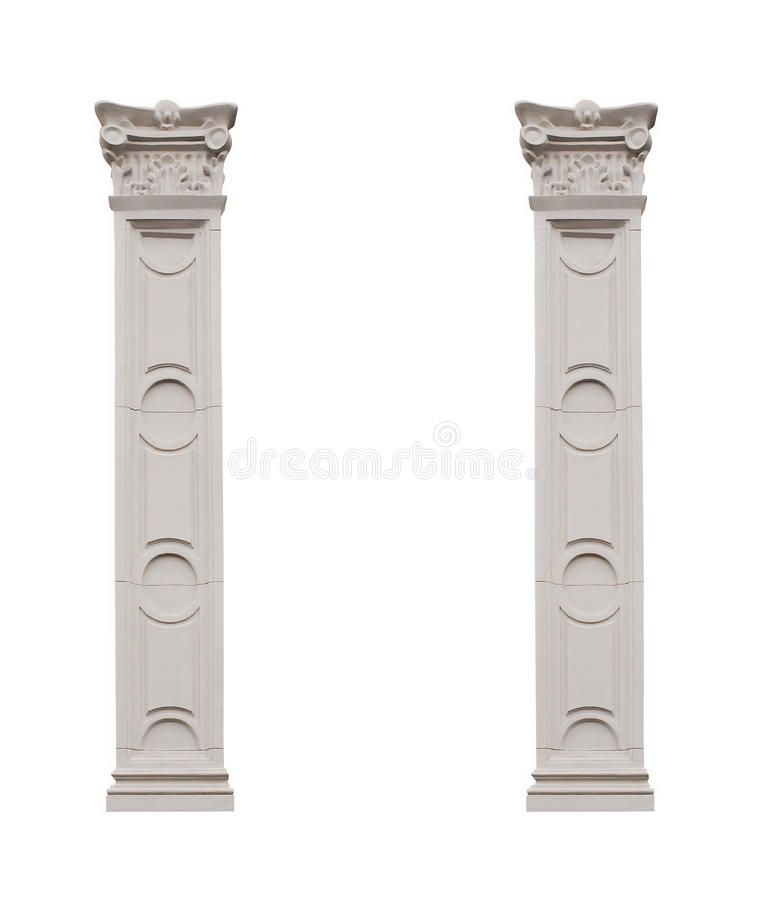 Beautiful Pillars Isolated On White Background Stock Photo