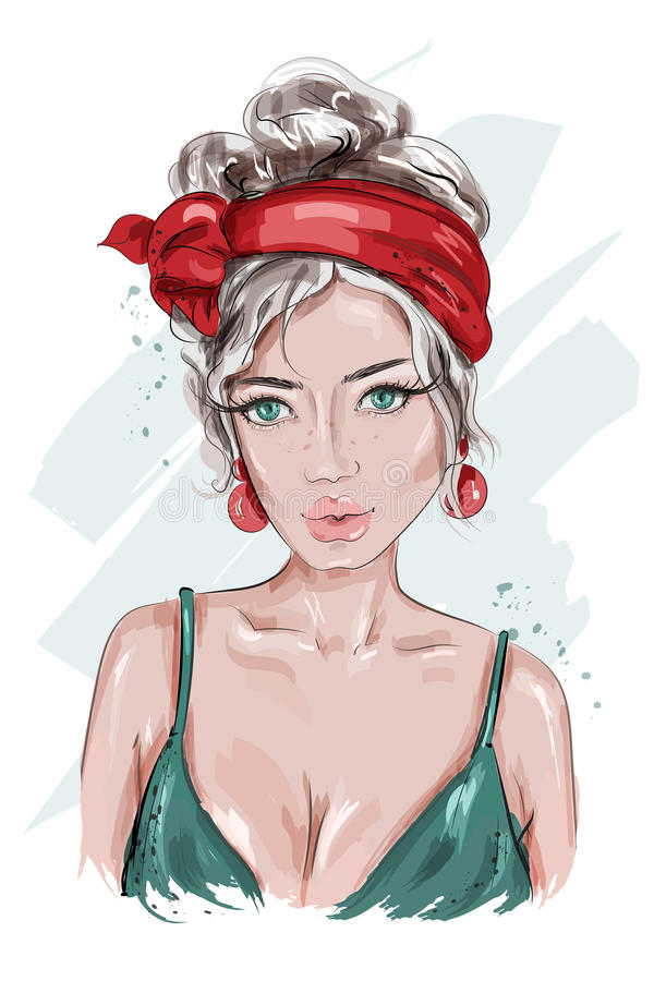 Beautiful Pin Up girl. Hand drawn fashion woman. Young woman dressed in pin-up style. Fashion woman portrait. Sketch. vector illustration