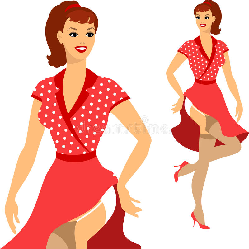 Beautiful pin up girl 1950s style stock illustration