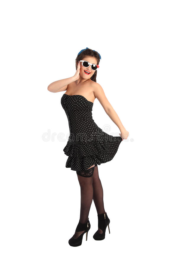 Beautiful pin-up style model posing over white background stock photography