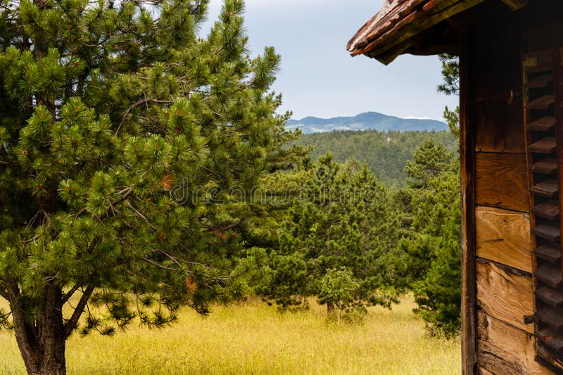 Mountain scenery behind old abandoned wooden cottage stock photos