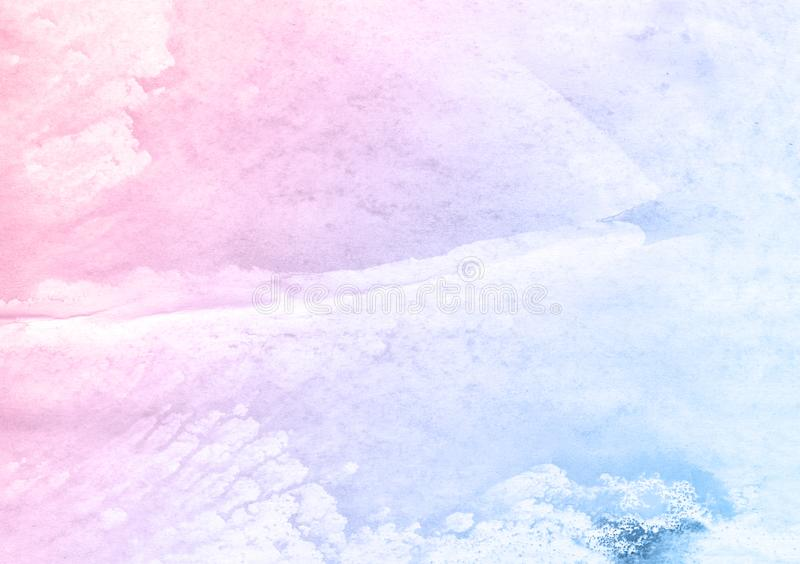 Beautiful pink and blue brushes watercolor paint background, beautiful planet. vector illustration