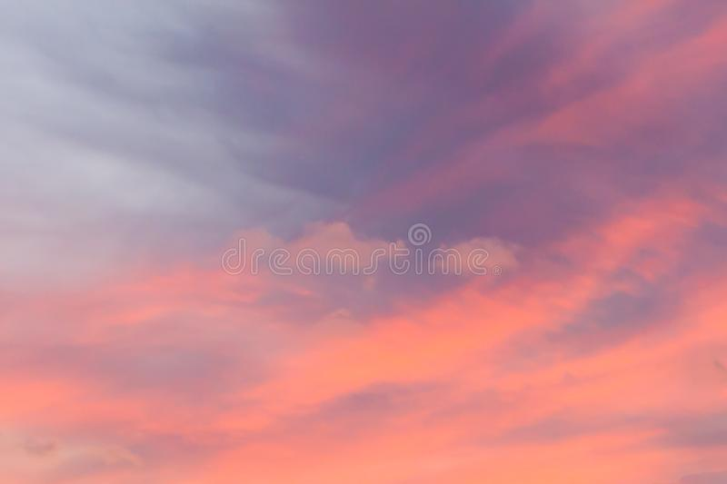 Beautiful pink sunset sky stock image