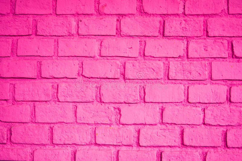 Beautiful Pink Color Of Brick Wall Stock Photo