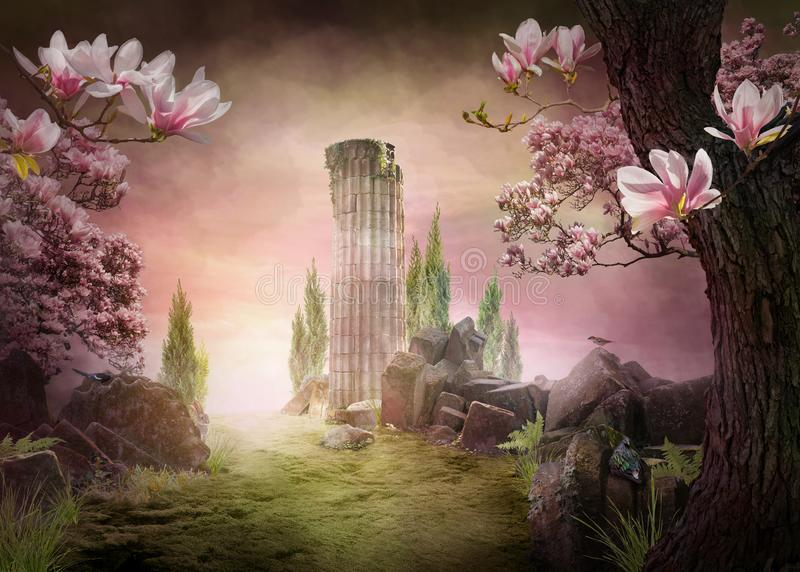 Beautiful, pink dreamy spring magnolia blossom landscape royalty free stock photo