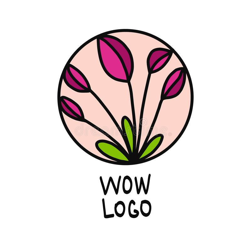 Beautiful pink flower logo with green elements and pink background stock illustration