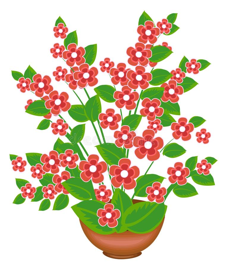 Beautiful pink flower. The plant grows in a flower pot. Vector illustration stock illustration