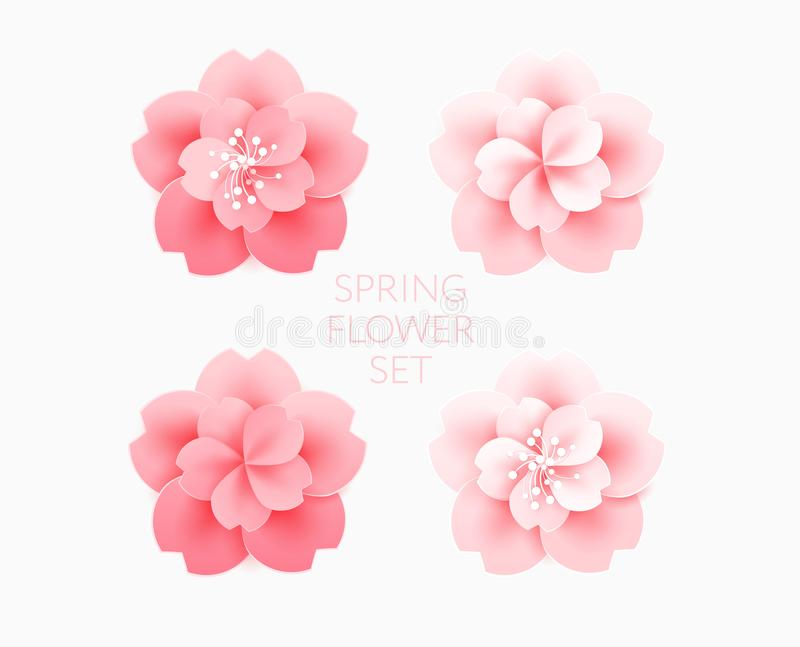 Beautiful pink flowers cherry blossom isolated vector illustration. Use as a logo, icon, decorative design element vector illustration