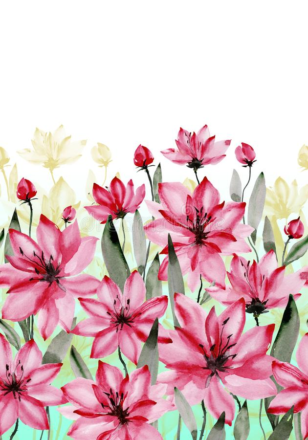 Beautiful pink flowers with green stems and leaves on white background. Seamless floral pattern. Watercolor painting. vector illustration