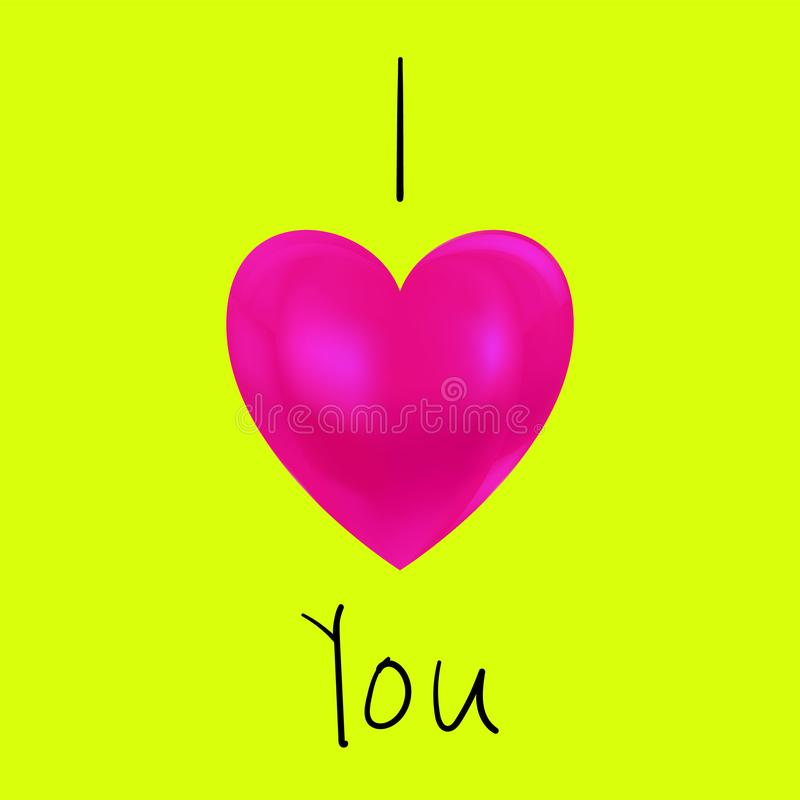 Beautiful pink heart describing I love you text. royalty free stock images