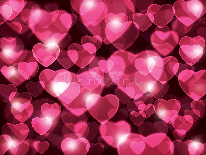 Beautiful pink hearts lens background. stock illustration