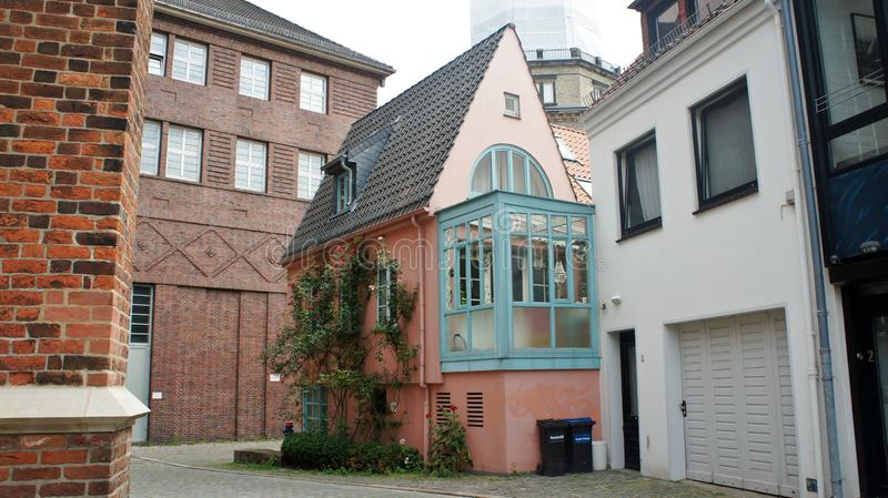 Beautiful pink house in old town, Bremen, Germany. Beautiful pink house in old town, Bremen royalty free stock images