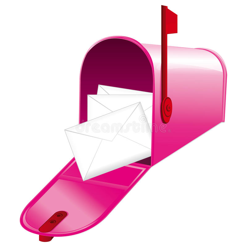 beautiful pink metallic opened mailbox stock vector illustration rh dreamstime com Mailbox with Mail Clip Art Package in Mailbox Clip Art