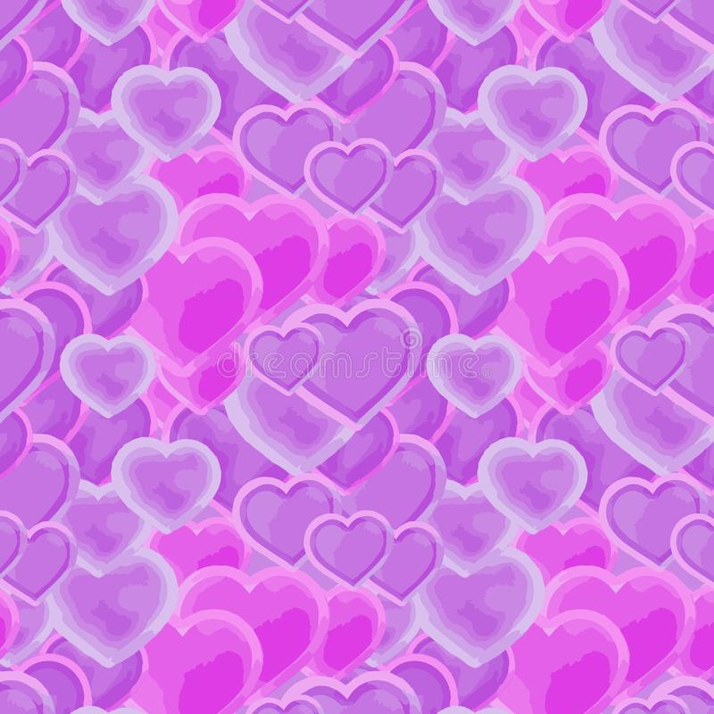 Beautiful pink and purple hearts in a repeating pattern stock illustration