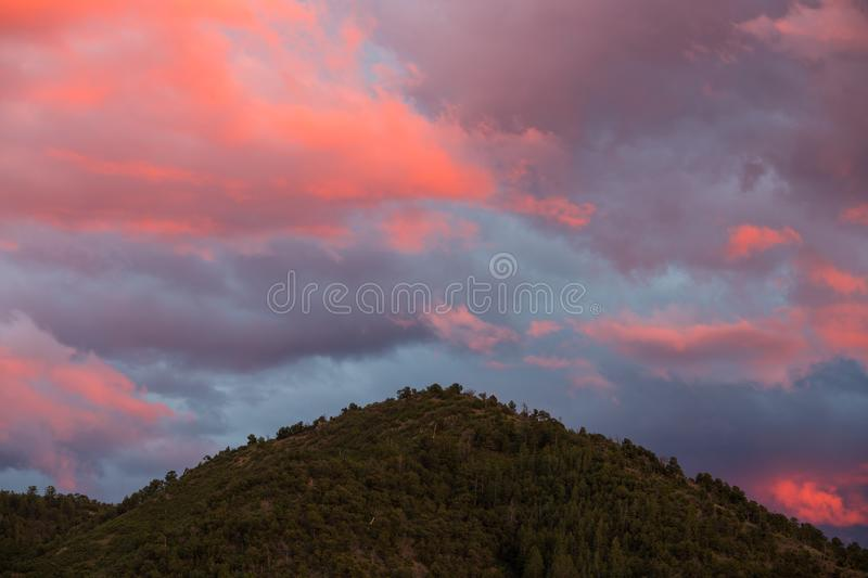 Beautiful pink, purple, and peach colored clouds at sunset over a forested mountain peak royalty free stock photos
