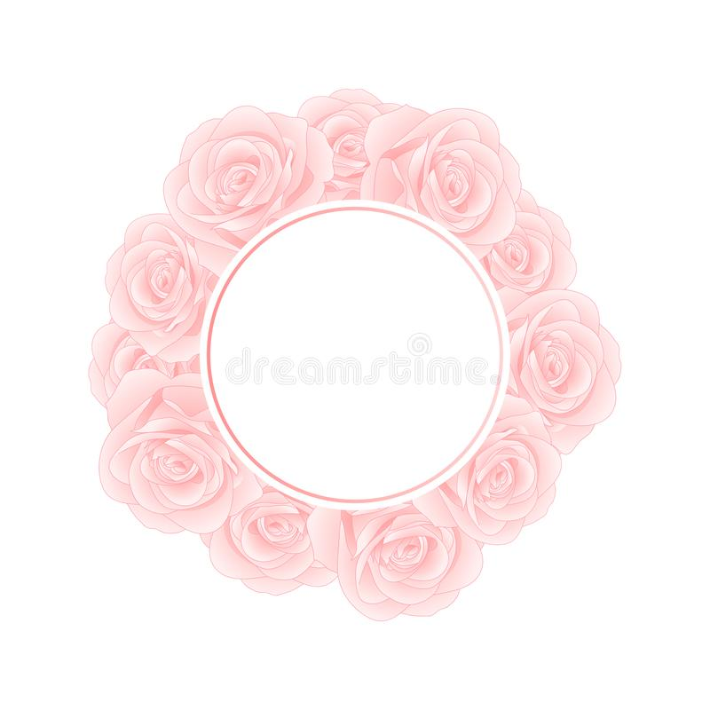 Beautiful Pink Rose Banner Wreath - Rosa isolated on White Background. Valentine Day. Vector Illustration.  stock illustration