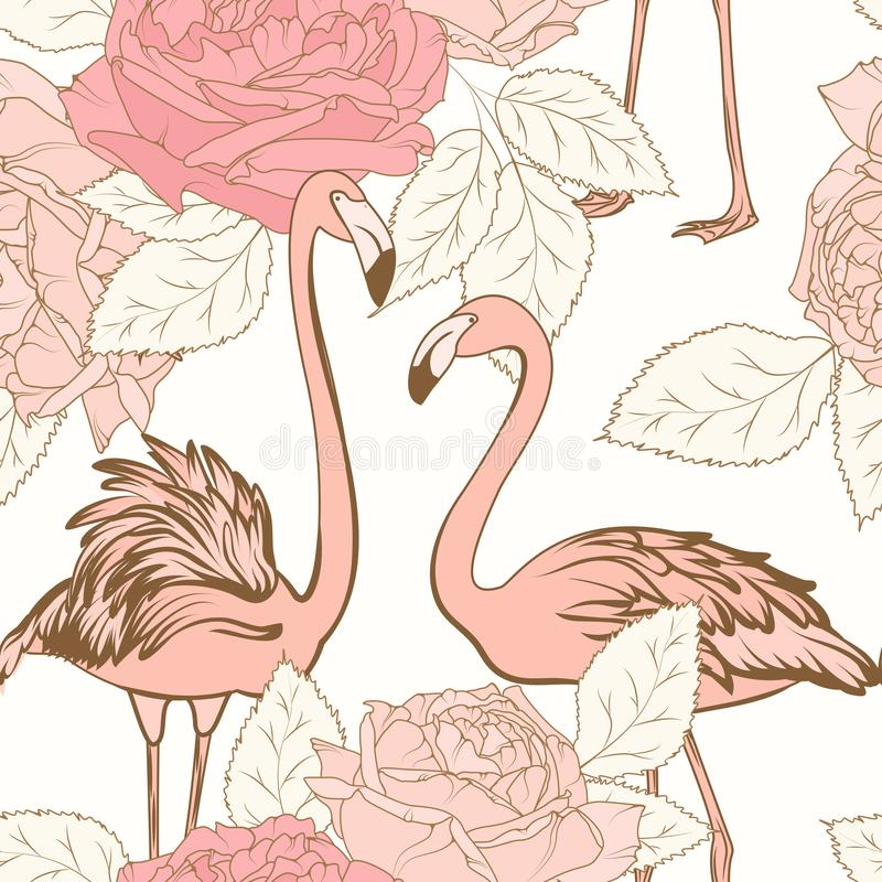 Beautiful pink rose flowers pink flamingo birds seamless pattern. Love couple. Blooming floral elements with leaves. royalty free illustration