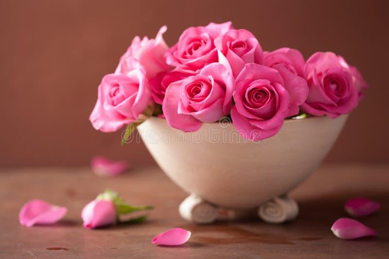 Beautiful pink rose flowers in vase stock image image of vibrant beautiful pink rose flowers in vase mightylinksfo